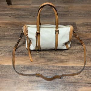 Fossil white and tan leather crossbody